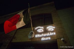 Seattle Freedom for Nestora Committee projected this message on the wall of the Mexican Consulate on Aug. 19